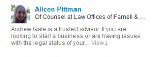 Testimonial for Andrew Gale Business Attorney Attorney Alicen Pittman